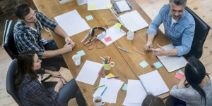 Group of creative people in a business meeting